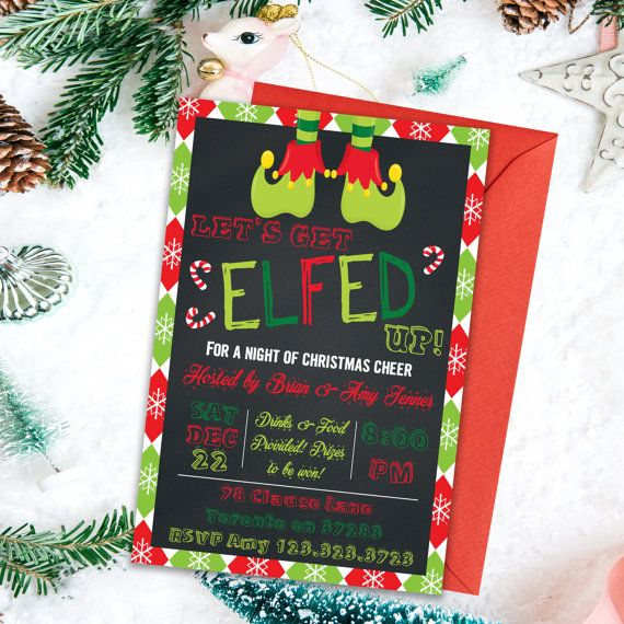 35 best christmas invitations images on pinterest christmas lets get elfed up adult party invitations by printyourinvite solutioingenieria Image collections