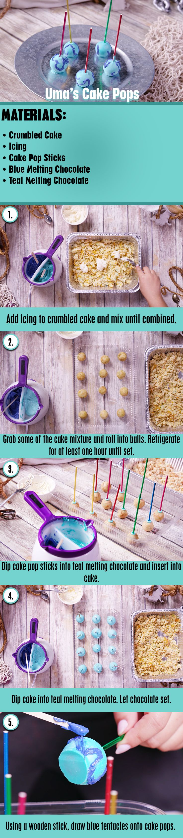 Descendants 2 Uma's Cake Pops DIY   Here's a quick and easy way to make Cake Pops inspired by Uma from Descendants 2!