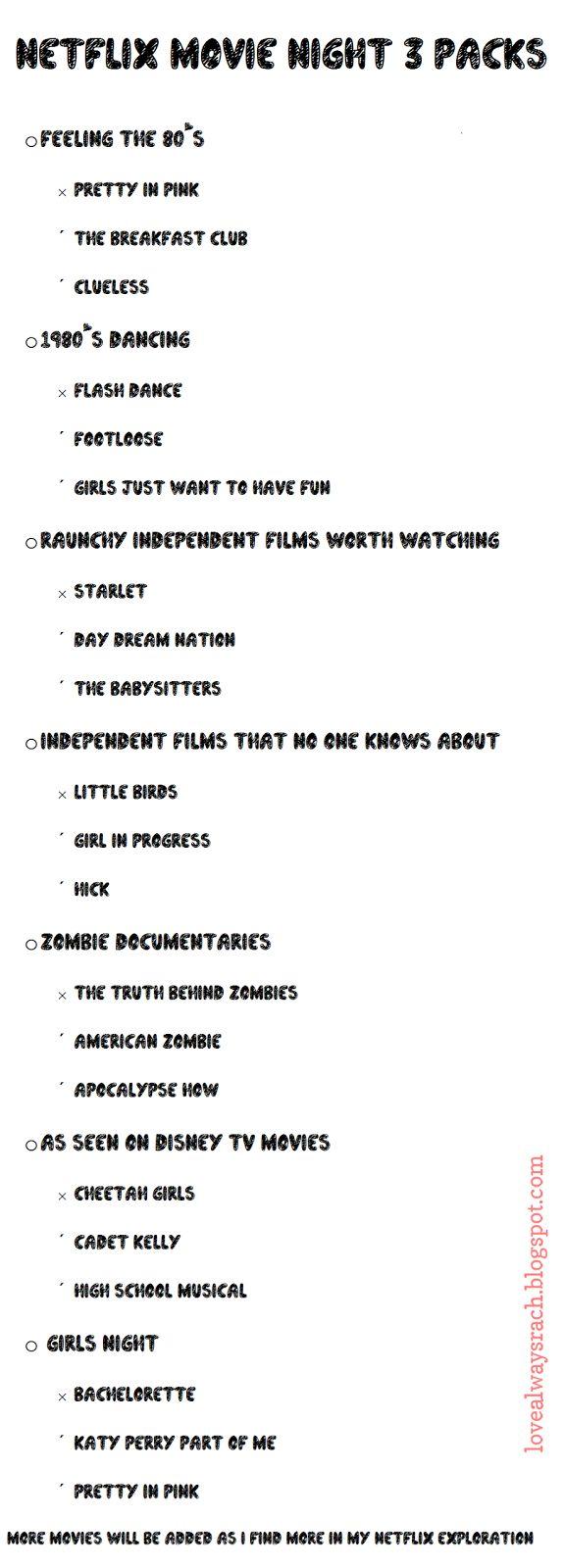 Love Always, Rach: Neflix Movie Night 3 Packs