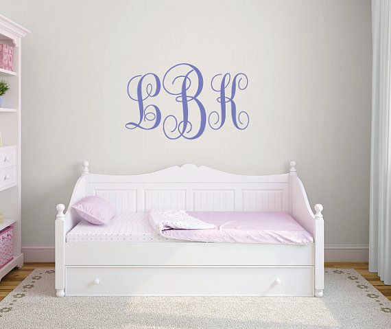 Monogram stickers, Personalized wall decals, Monogram decals, Girls wall decal, Girls room decor, Large wall letters for nursery DB364