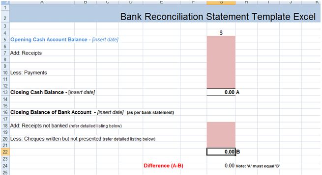 Bank Reconciliation Statement Excel Template Xls | Excel Project