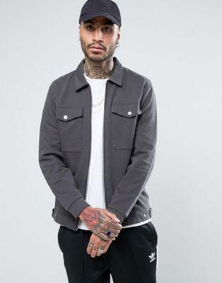 ASOS – Harrington-Jacke aus Jersey mit aufgesetzten Taschen