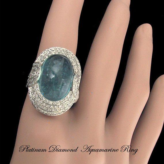 Platinum Diamond Natural Blue Aquamarine Ring by AntiquingOnLine