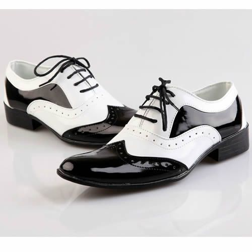 Men white black patent leather pointy dress wedding prom for Black and white shows