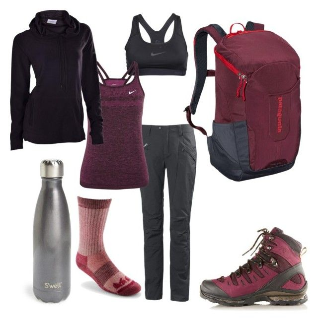 """Take a Hike"" by areyouapirate on Polyvore featuring Salomon, Helly Hansen, NIKE, Columbia, Patagonia, S'well and REI"