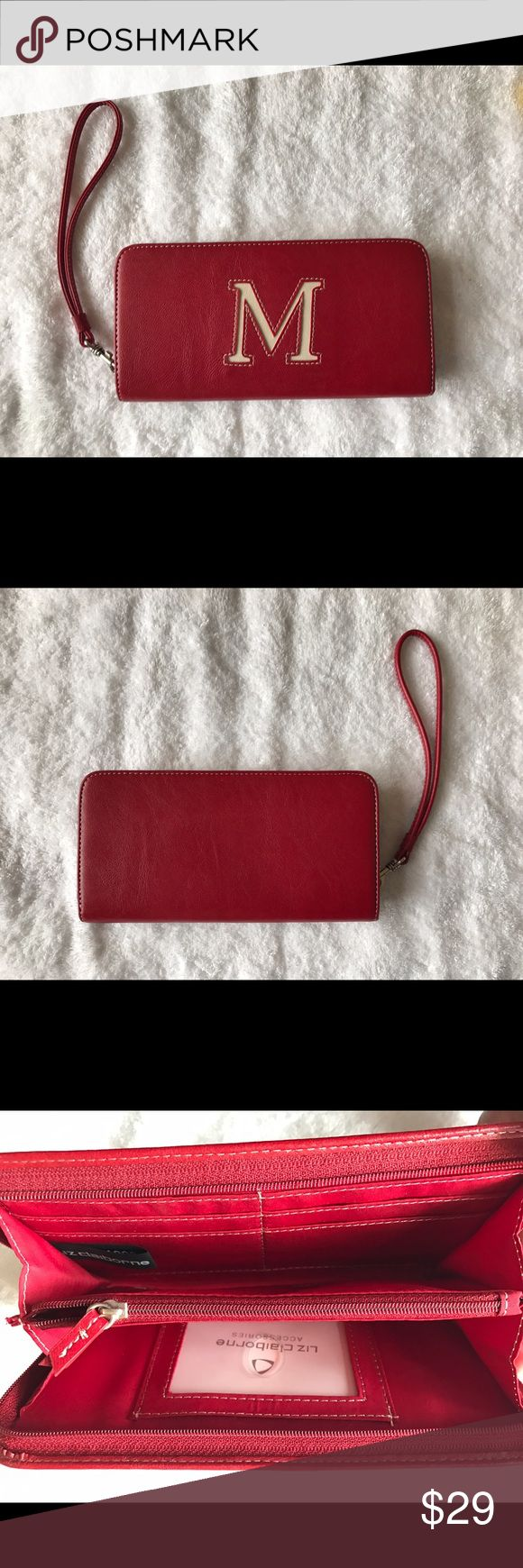 "Brand New Liz Claiborne Monogram Red ""M"" Wallet New Liz Claiborne Monogram Red ""M"" Wallet- polyvinyl- NWOT Liz Claiborne Bags Wallets"