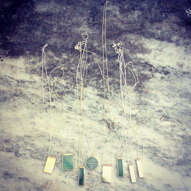 Aventurine and brass pendants and new solid brass with copper detail pendants #neighbougoodsmarketct #neighbourgoodsmarket #jewellery #steff...
