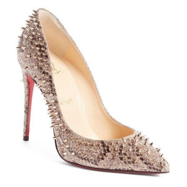 Women's Christian Louboutin Escarpic Spike Pump ($1,095) ❤ liked on Polyvore featuring shoes, pumps, beige, real leather shoes, leather shoes, beige pumps, red sole shoes and christian louboutin pumps