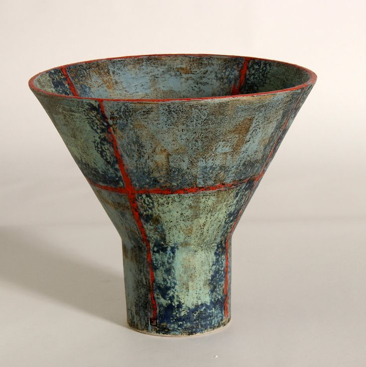 Smaller vessel, cone form Stoneware with engobe painting and glaze interior Finn Dam Rasmussen