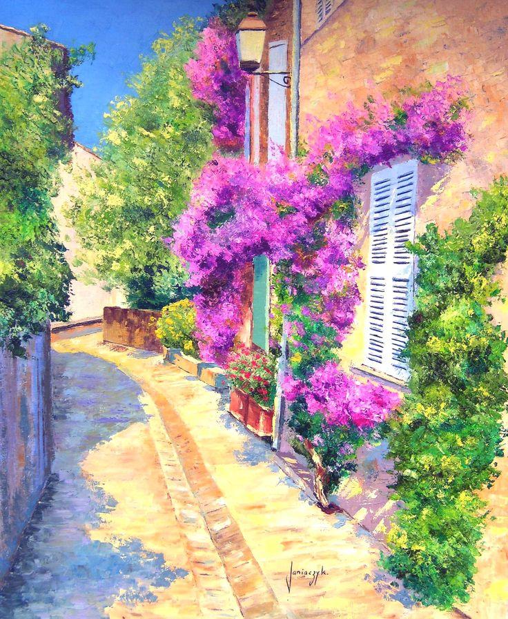 """GRIMAUD"" Jean-Marc JANIACZYK French landscape painter"