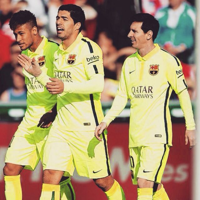 Neymar, Suarez, Messi. Barcelona trio.