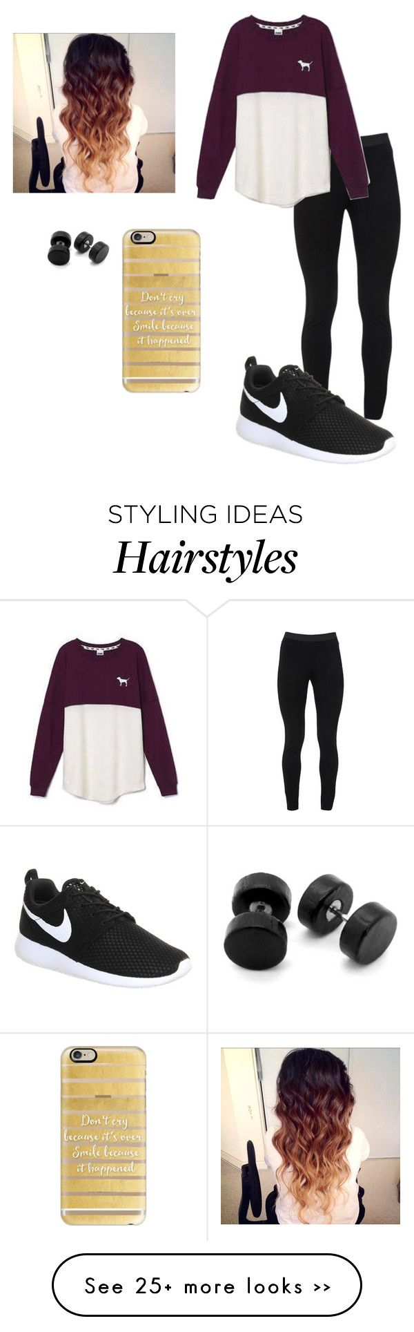 """""""Don't cry cause it's over smile cause it happened"""" by huangjennifer on Polyvore featuring Peace of Cloth, Victoria's Secret, Casetify and NIKE"""