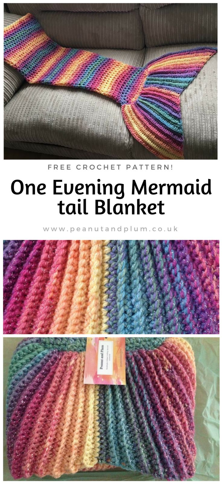 No counting, no pattern to follow. Make your own custom size Mermaid tail following these simple steps! #crochet #freecrochetpatterns #mermaidtail #crochetforbeginners #peanutandplum