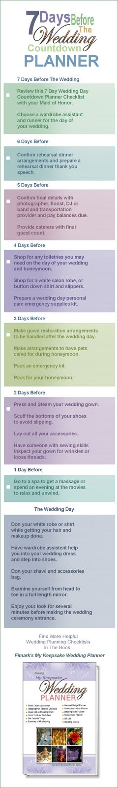 7 Day Wedding Countdown Checklist Bookmark