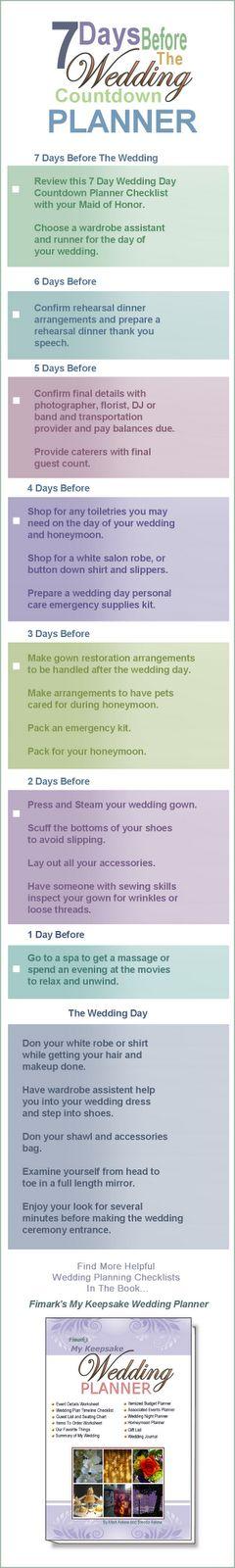 7 Day Wedding Countdown Checklist