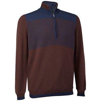 NEW Men's Ashworth Golf Merino Wind Sweater Half Zip Navy Size Large