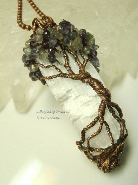 Wire Wrapped Mystic Tree of Life Pendant, Amethyst, Iolite & Labradorite on Selenite, Antiqued Copper Handmade Perfectly Twisted Jewelry  The