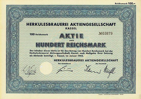 Herkulesbrauerei AG   Kassel, Januar 1942, Aktie über 100 RM, #3879, lochentwertet
