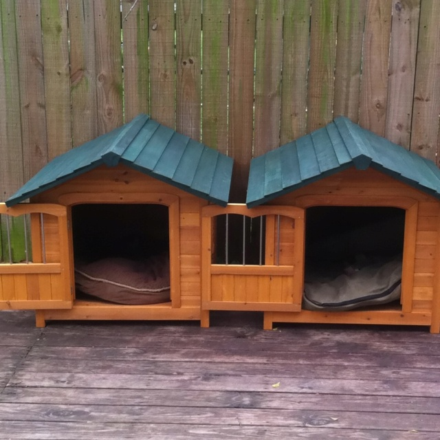 double dog house plans. Merry Products Darker Stain Duplex Dog House With Heating \u0026 Cooling Unit Package - Spacious Enough For Two Large Dogs, Or One Extra-large Dog, This\u2026 Double Plans E