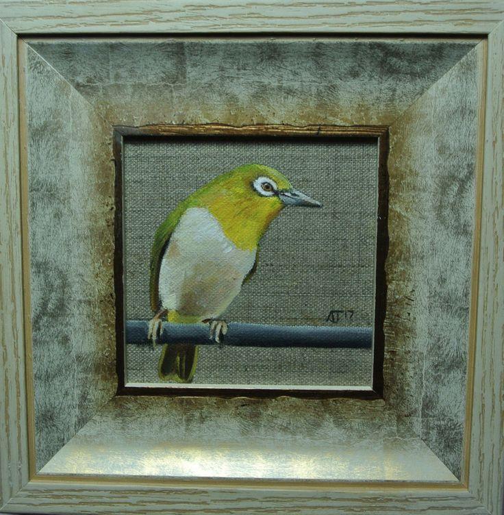 White Eye Bird painting Framed, Wall Decor Art, Ready to Hang Original by AJ #Impressionist