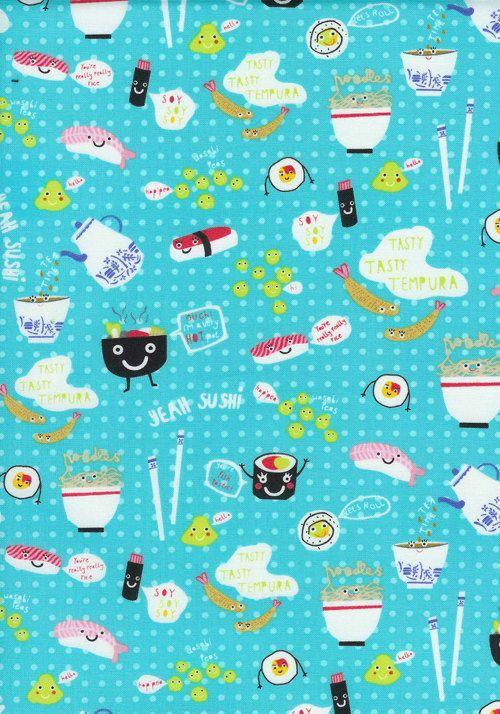 Timeless Treasures Sushi Aqua Fabric  By the by luckykaerufabric, $8.50  SUSHI FABRIC!-Kawaii!!!!