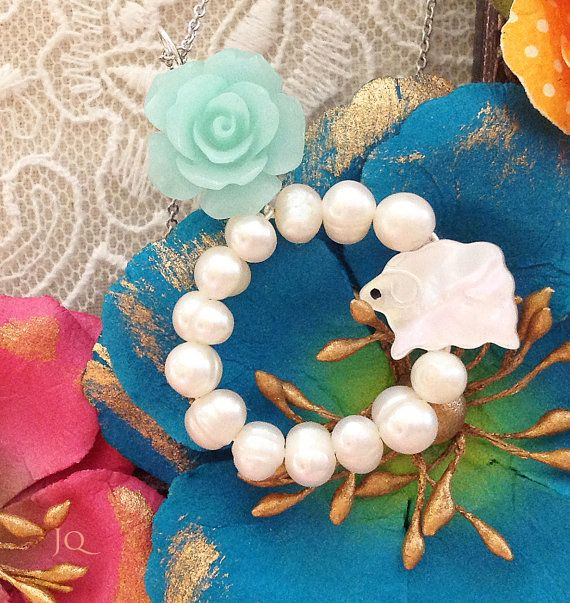 Romantic White Wreath Rose & Sheep Necklace by JamiesQuilting, $20.00