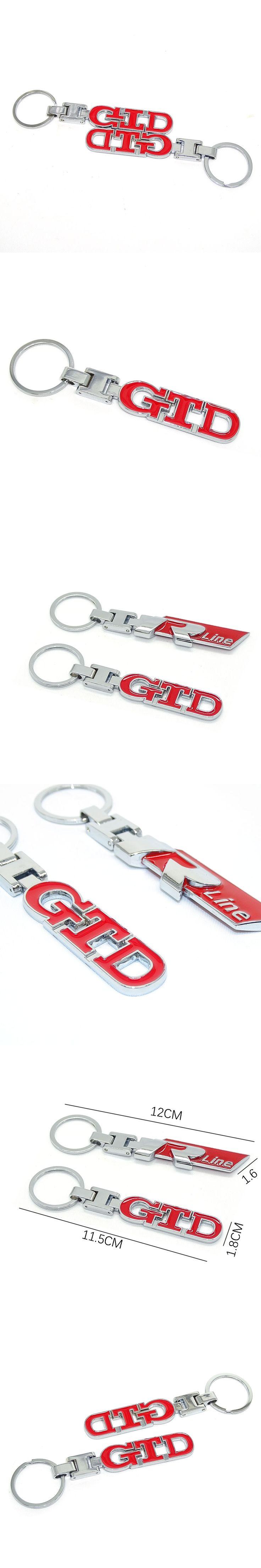 For VW Volkswagen Golf Polo Sedan Jetta Touareg 4 5 6 7 3D Metal Rline  GTD Emblem Auto Keychain Key Chain  Car Accessories