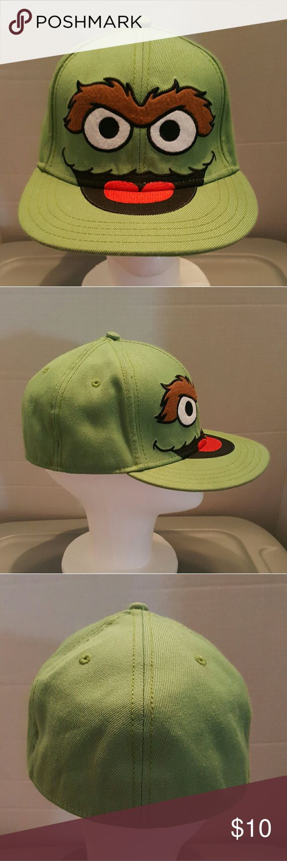 Sesame Street Oscar The Grouch Baseball Cap Sesame Street Oscar The Grouch  Size Medium Fitted  Baseball Cap Sesame Street Accessories Hats