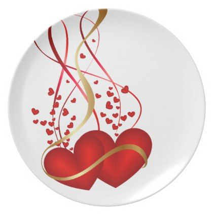holiday plastic hearts dinner plate