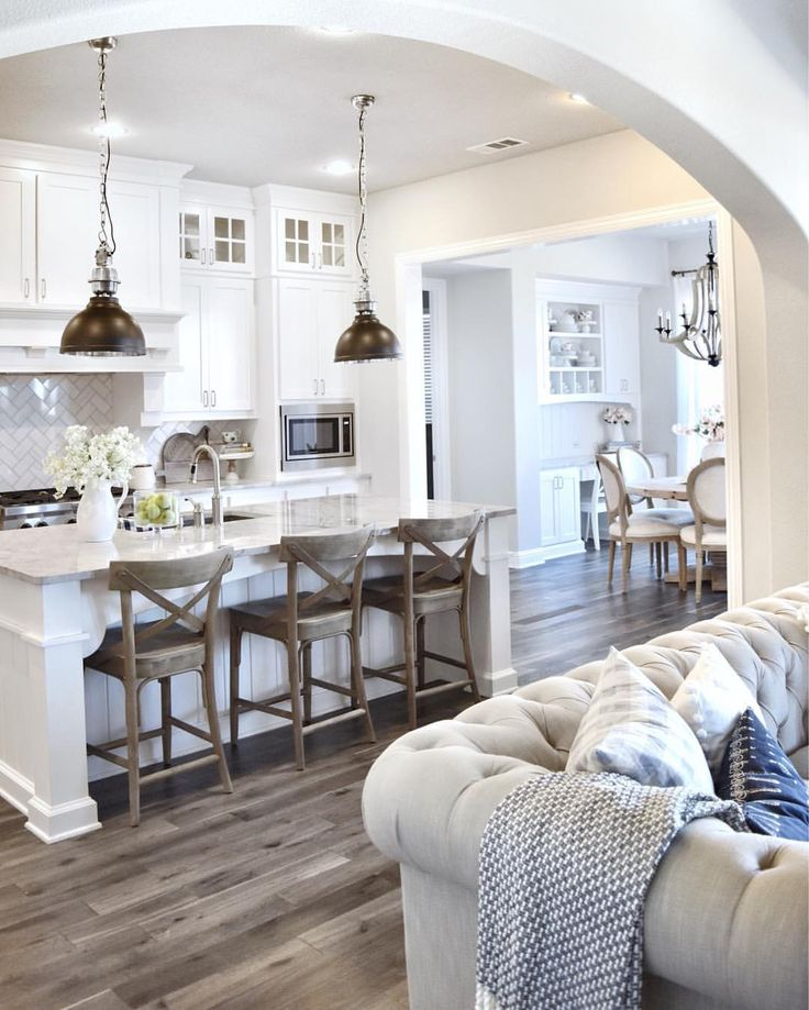 Wall Paint Color Is U201cSherwin Williams SW 7015 Repose Gray.u201d   White Kitchen  With Warmth Added From Wood Floor Color