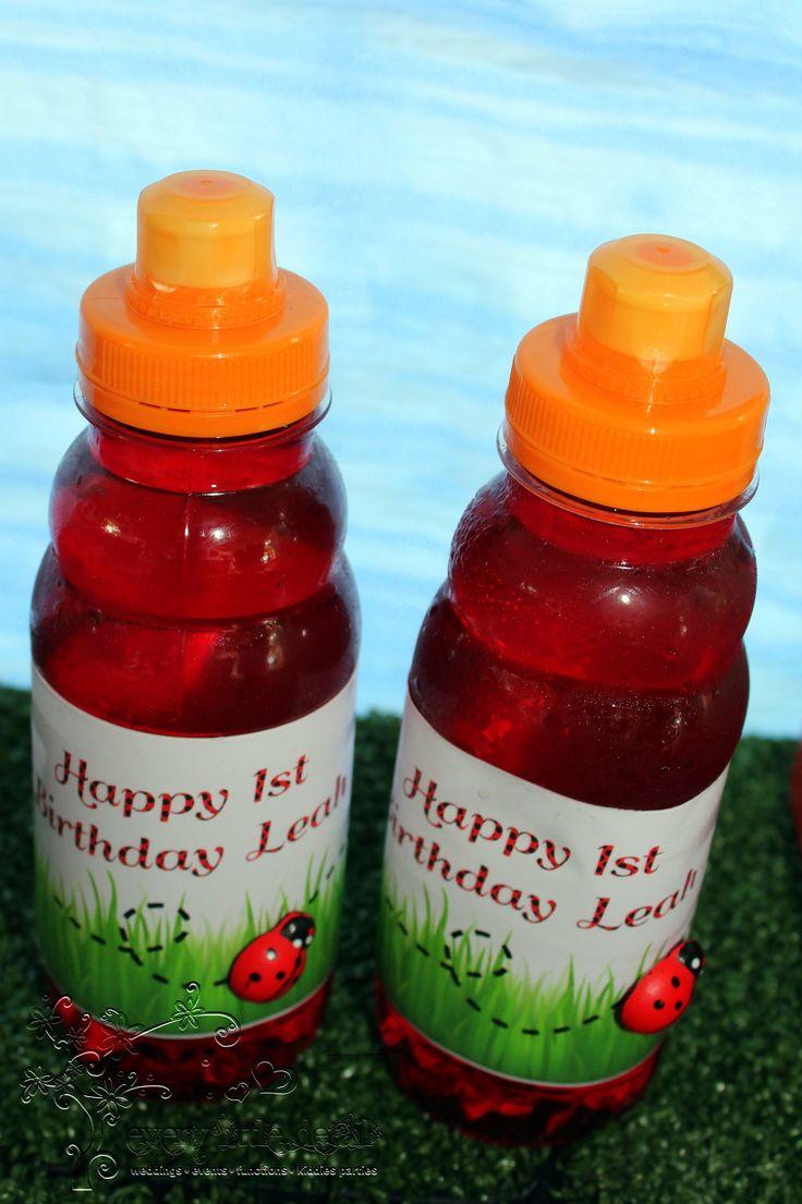 Oros Juice Bottles with customised labels #Ladybug #1stBirthday #DessertTable