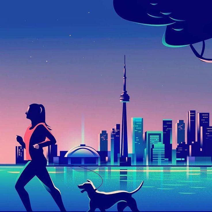 - 3c23c7a268a37e82527c08d75fcc0a86 - Evening jog through the city . . . #city #jog #evening #toronto #procreate #illustration #illustrations #art #artwork #a…