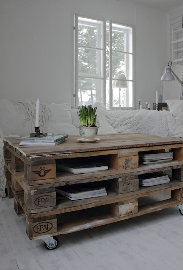 DIY: Salontafel van houten pallets met wieltjes eronder   Coffee table made of wooden pallets with wheels on the bottom