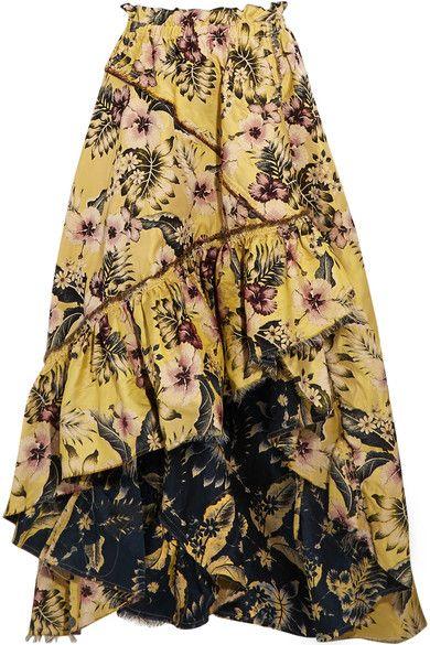 Philosophy di Lorenzo Serafini - Asymmetric Ruffled Floral-jacquard Maxi Skirt - Yellow - IT