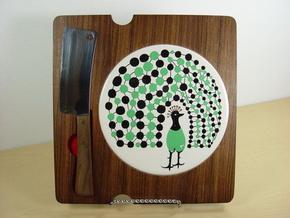 MidCentury Peacock Cutting Board  Cheese Tray & Hors by LocalRetro, $15.99