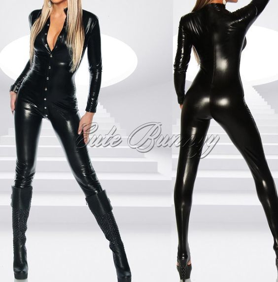 Women Black Long Sleeve Pvc Catsuit Bodysuit Jumpsuit Sexy Lingerie Leotard