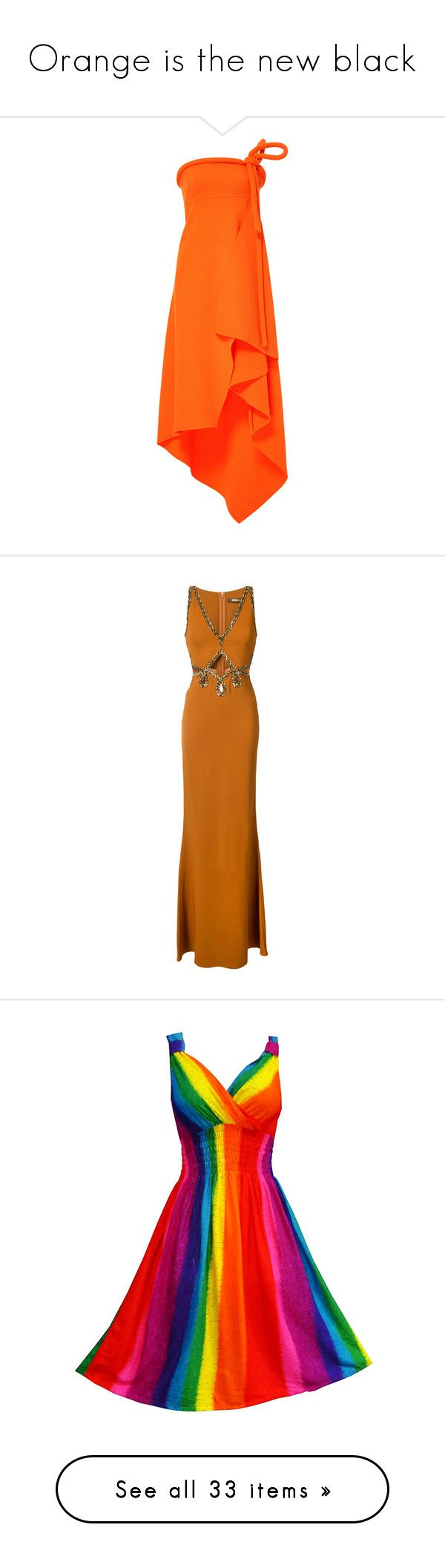 """""""Orange is the new black"""" by skinny-jeannie ❤ liked on Polyvore featuring dresses, gowns, orange, strapless ball gown, strapless evening dresses, strapless gown, orange gown, wool dress, brown and beaded evening dress"""