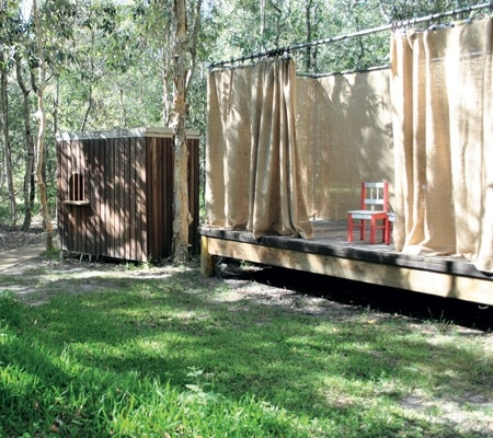 Kid's play stage in the backyard