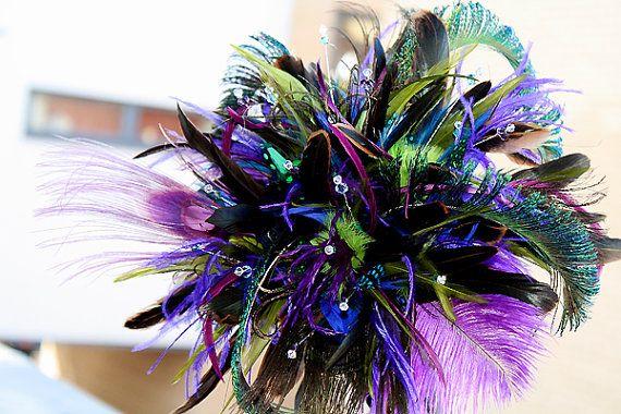 Peacock Blast II    feather wedding bouquet by hairbowswonderworld, $195.00