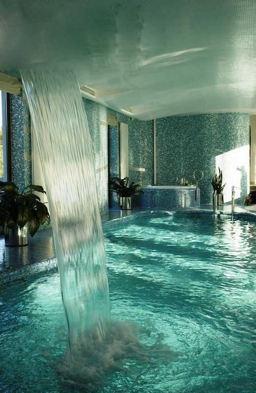 waterfall inside pool