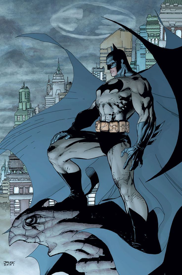 Batman by Jim Lee__One of the most iconic Batman artworks ever. Incredibly symbolic. Batman is the light amidst the darkness that is Gotham City.