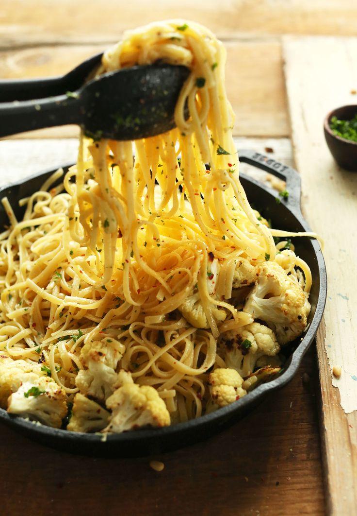 Garlic Chili Pasta with Roasted Cauliflower - Minimalist Baker