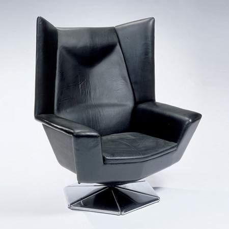 Voitto Haapalainen; Leather abd Steel 'Prisma' Lounge Chair for Tehokaluste Oy, c1970.