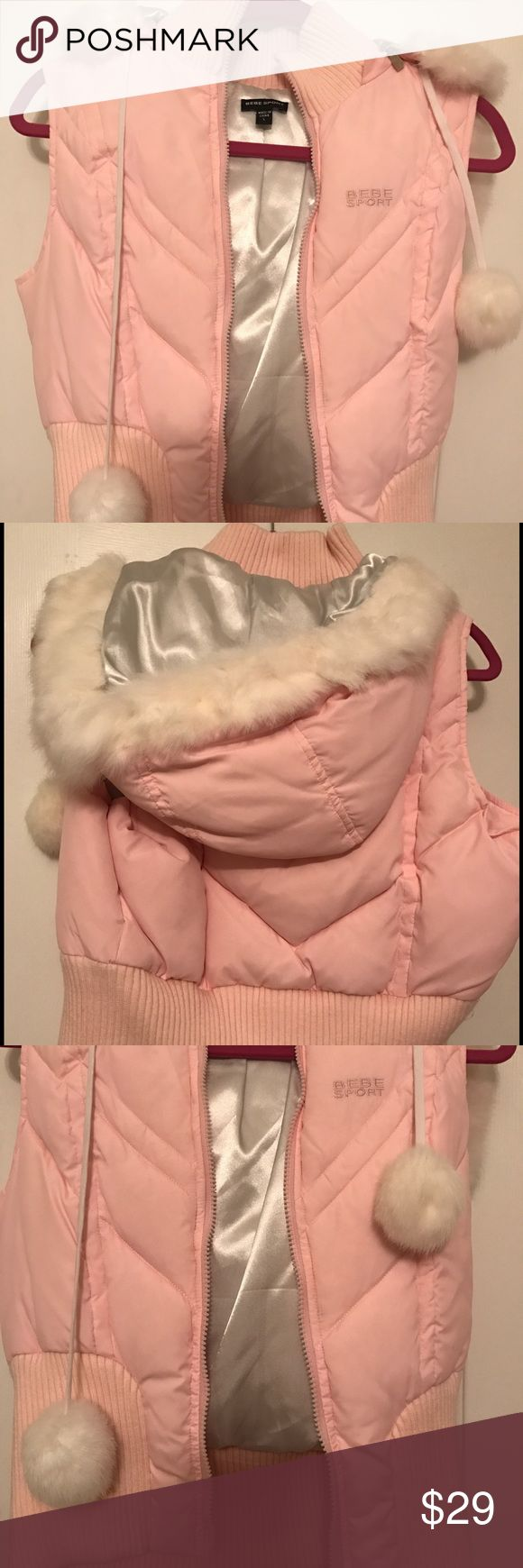 BNWOT: Bebe soft pink vest zipper fur hood sz: L BNWOT: Bebe Sport soft pink vest zipper fur hood sz: L never worn, insulated and super comfy. The hood can detach to make a sporty vest. Make an offer ❤ bebe Jackets & Coats Vests