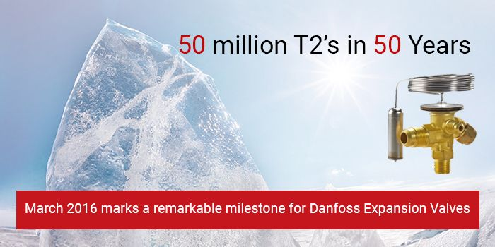 This month we celebrate the 50 years' anniversary of our T2 thermostatic expansion valve. Danfoss will set a milestone record when the 50 millionth T2 valve rolls through the assembly line in Nordborg, on the island of Als. Read more about the T2's 50 years of proven track record as one of the most energy-efficient solutions the market has to offer.