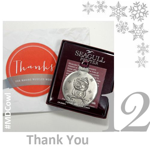 The 12 Days of Ornament Giving Day 12: Thank someone who helped you out this past year by gifting ‪#‎MDCowl‬ along with a nice note. Get yours at muscle.ca/ornaments