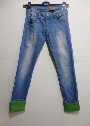 Kup mój przedmiot na #vintedpl http://www.vinted.pl/damska-odziez/dzinsy/12761884-jeansy-biodrowki-38m-zielone-wstawki