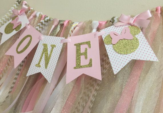 Minnie Mouse Birthday Decorations Pink and Gold by APartyWithPaper