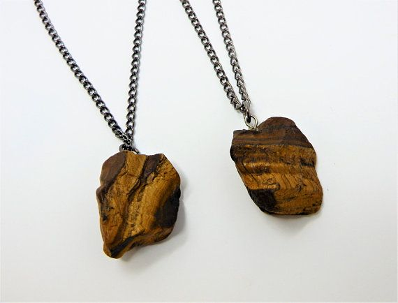 Grounding Stone Tigers Eye Gemstone Pendant Necklace and Earring Set  Crystal Healing