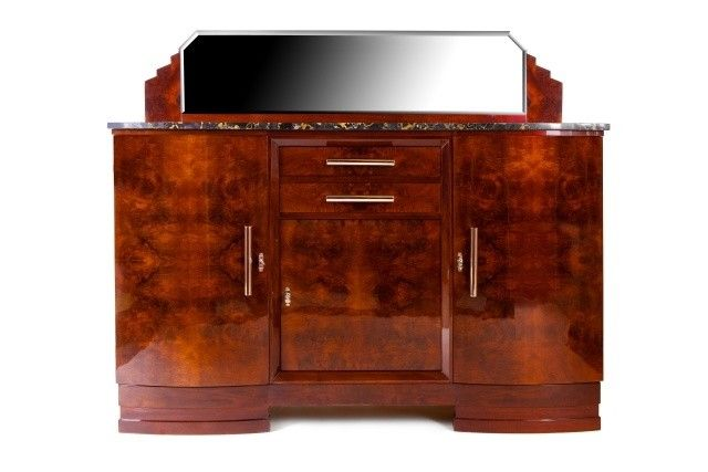 Cabinet with mirror and marble top, 1930 - 1939, walnut